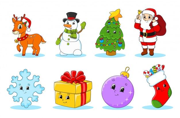 Set di simpatici personaggi dei cartoni animati di natale. Vettore Premium