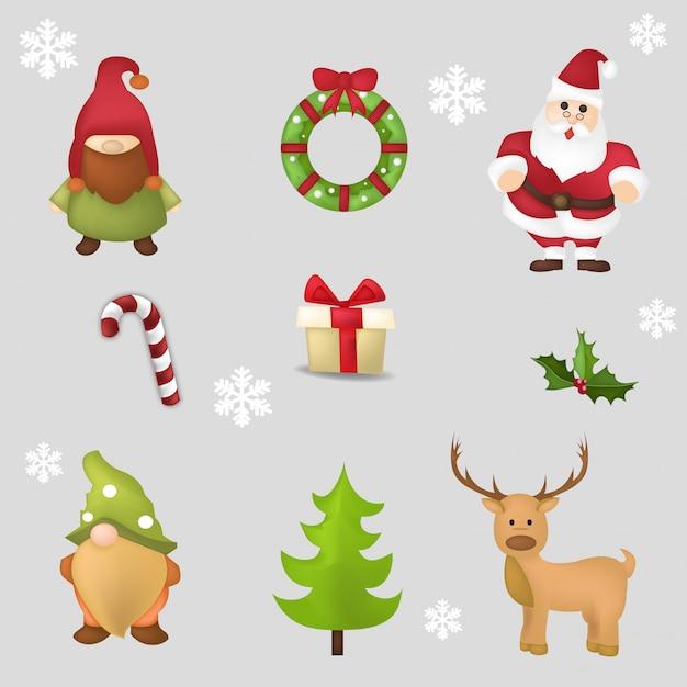 Set di simpatici personaggi natalizi Vettore Premium