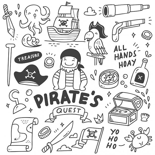 Set di simpatici pirati doodle Vettore Premium