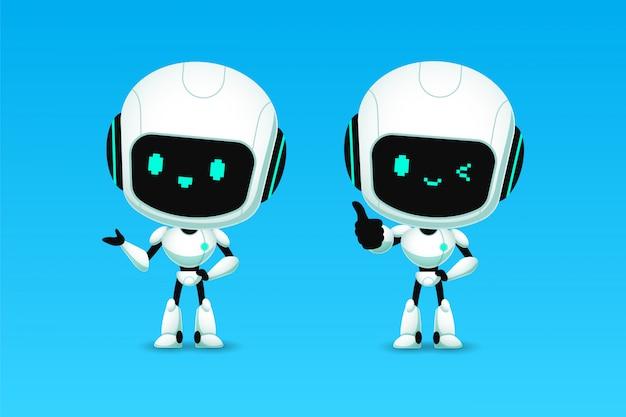 Set di simpatici robot ai personaggi mostrano pollice in su e presentazione Vettore Premium