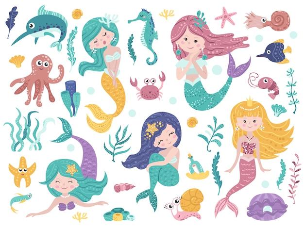 Set di sirene carini e natura marina. Vettore Premium