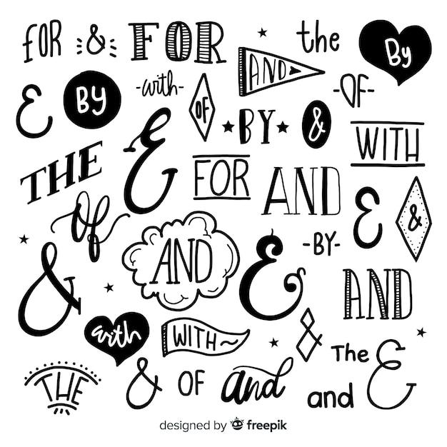 Set di slogan di nozze disegnati a mano Vettore gratuito
