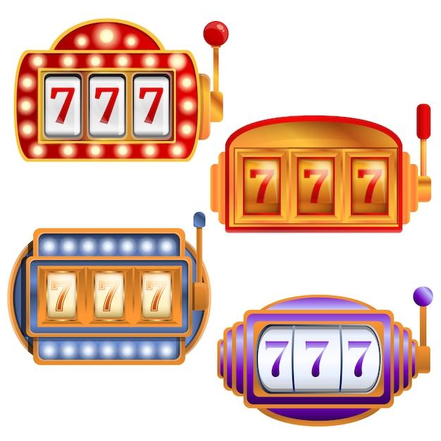 Set di slot machine, in stile cartone animato Vettore Premium