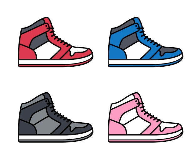 Set di sneaker alte Vettore Premium