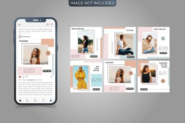 Set di social media instagram post square banner template Vettore Premium
