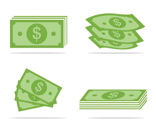 Set di soldi di carta Vettore Premium