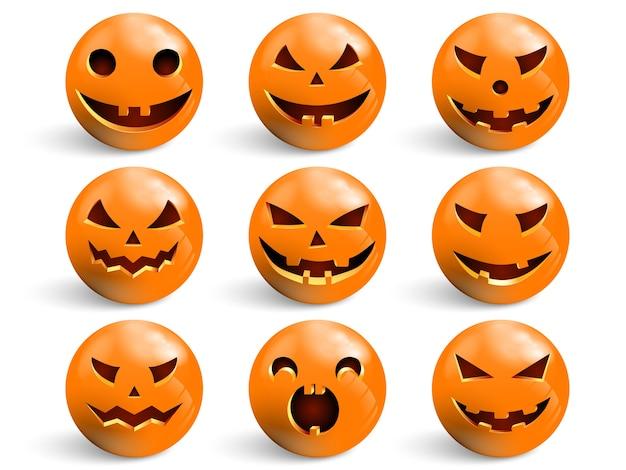 Set di sorrisi per halloween. Vettore Premium
