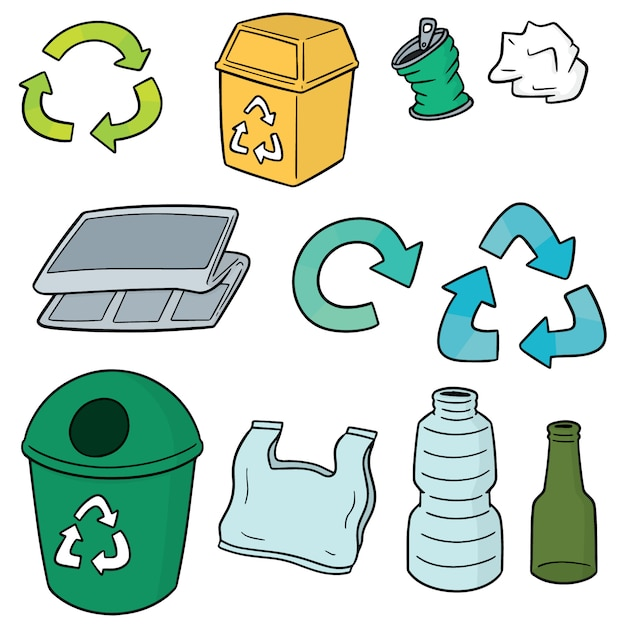 Set di spazzatura riciclata Vettore Premium