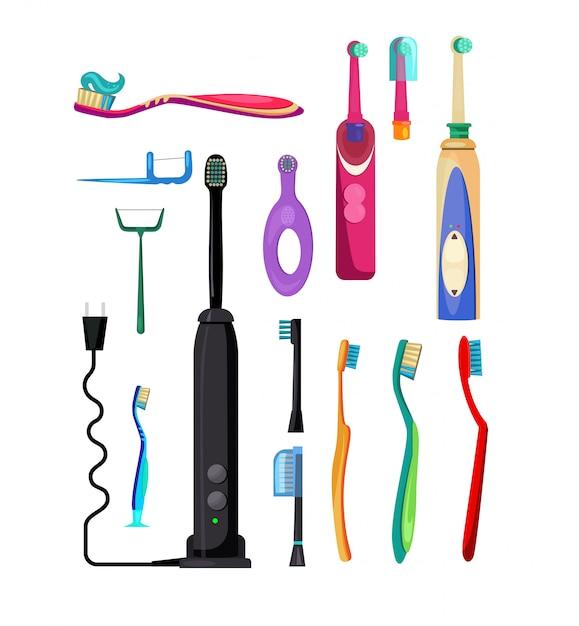 Set di spazzolini da denti elettrici e semplici Vettore gratuito