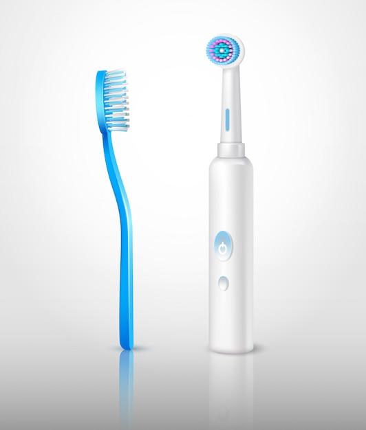 Set di spazzolini da denti realistici Vettore gratuito