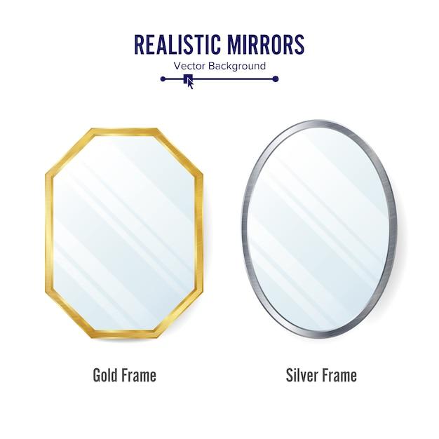 Set di specchi realistici Vettore Premium