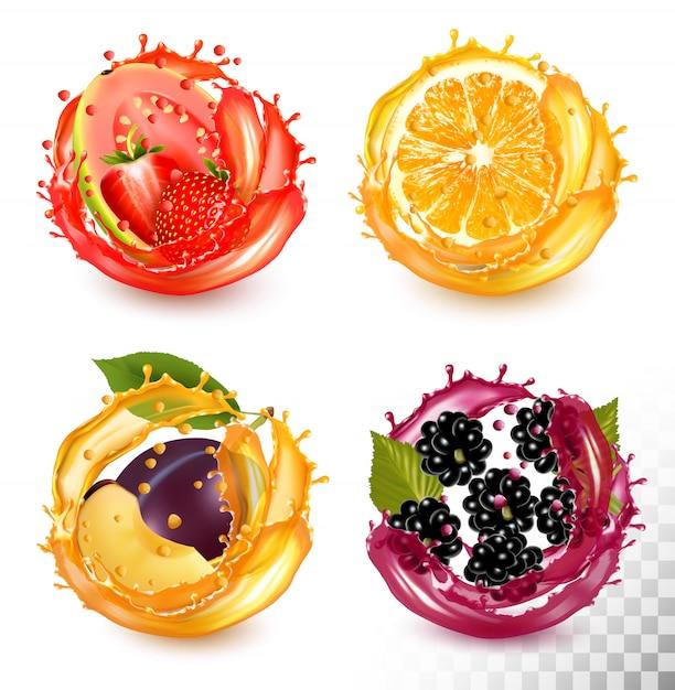 Set di spruzzata di succo di frutta. fragola, guava, arancia, prugna, mora. Vettore Premium