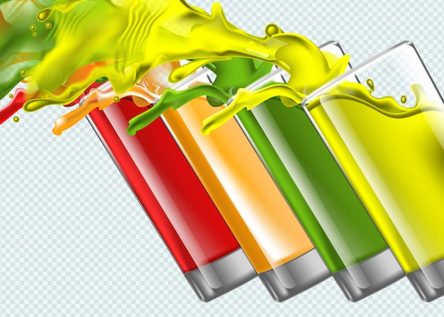 Set di spruzzi bicchieri di succo su sfondo trasparente Vettore Premium
