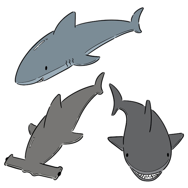 Set di squali Vettore Premium