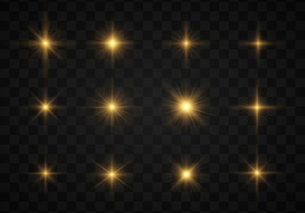 Set di stella splendente, le particelle del sole, bokeh, luci. Vettore Premium
