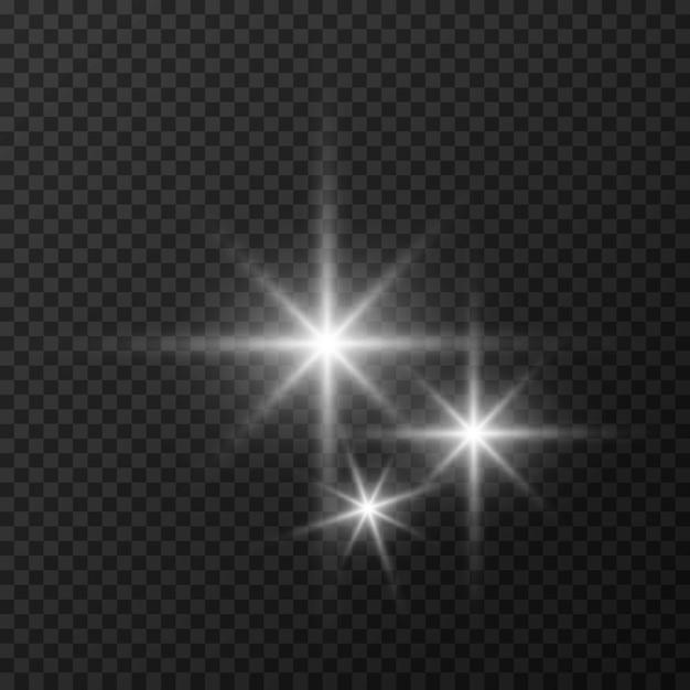 Set di stelle su uno sfondo bianco e grigio trasparente su una scacchiera. Vettore Premium