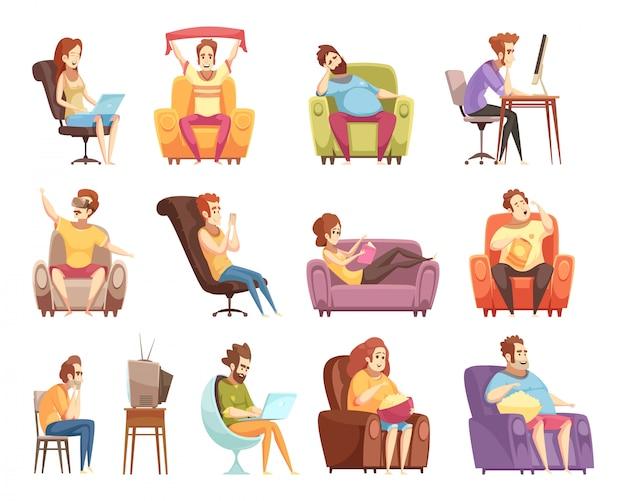 Set di stile di vita sedentario di icone retrò dei cartoni animati Vettore gratuito