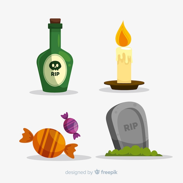 Set di stile piatto di elementi di halloween Vettore gratuito