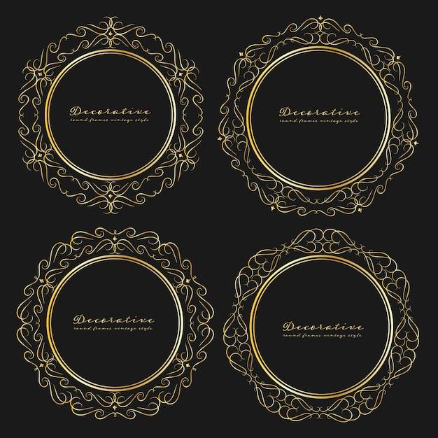 Set di stile vintage cornici rotonde decorativi. Vettore Premium