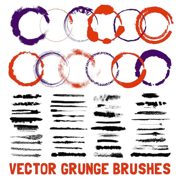 Set di stili pennello circolare inchiostrato Vettore gratuito