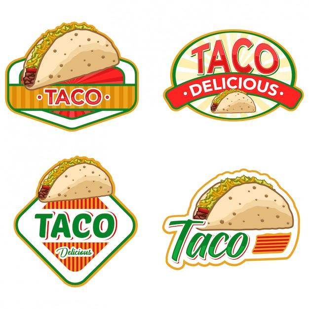 Set di stock vettoriale logo taco Vettore Premium
