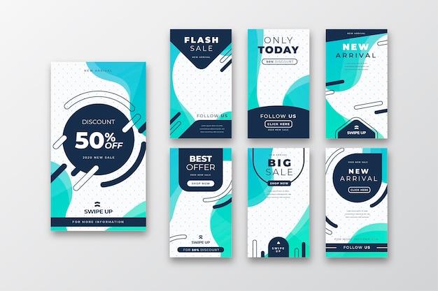 Set di storie di instagram di vendita Vettore gratuito