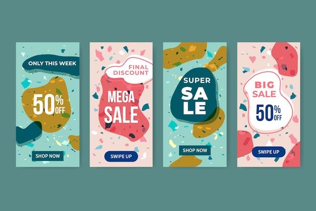 Set di storie di vendita di instagram in stile terrazzo e disegnati a mano Vettore gratuito