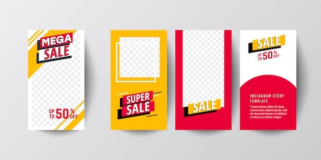 Set di storie grafiche moderne astratte creativi. modello impostato con banner sfumatura moderna liquido Vettore Premium