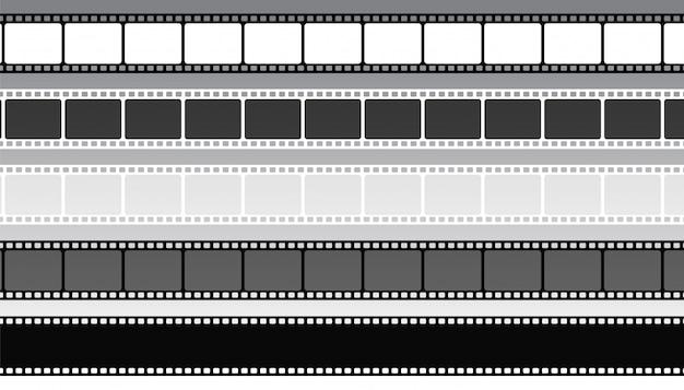 Set di strisce di pellicola cinematografica in stile diverso Vettore gratuito
