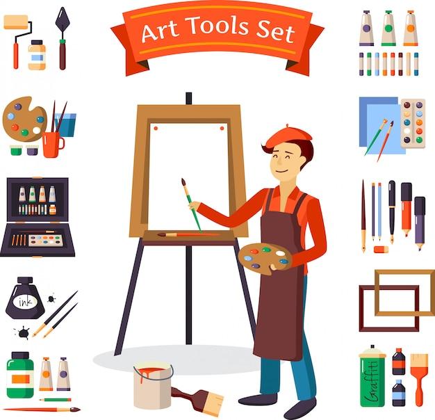 Set di strumenti di artista e arte Vettore gratuito