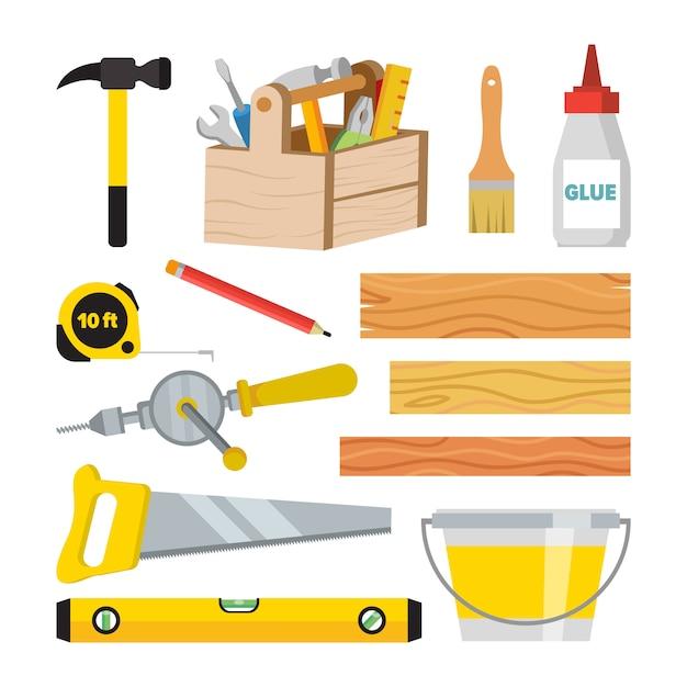 Set di strumenti di carpenteria e falegnameria Vettore Premium