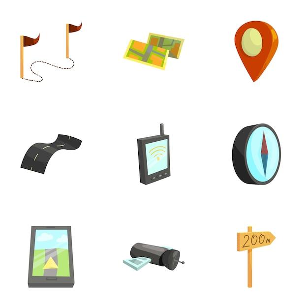 Set di strumenti di cartografia e geografia Vettore Premium