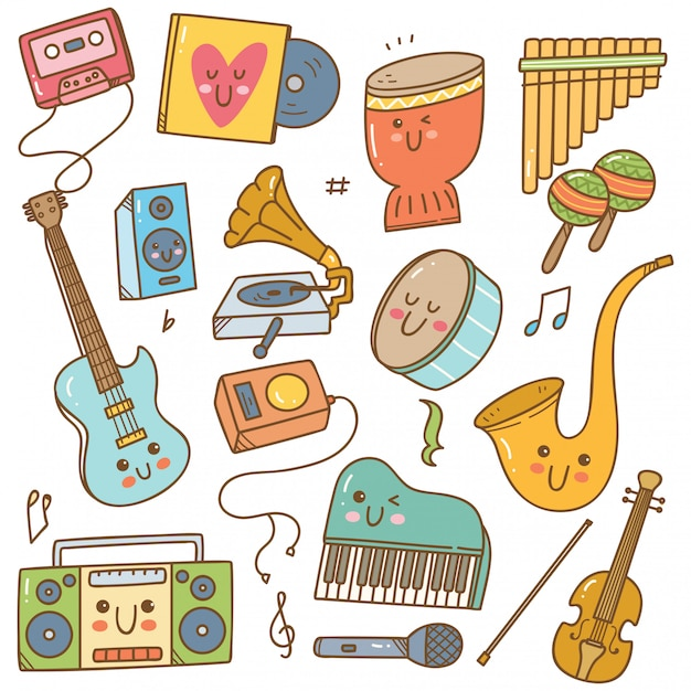 Set di strumenti musicali in stile doodle Vettore Premium