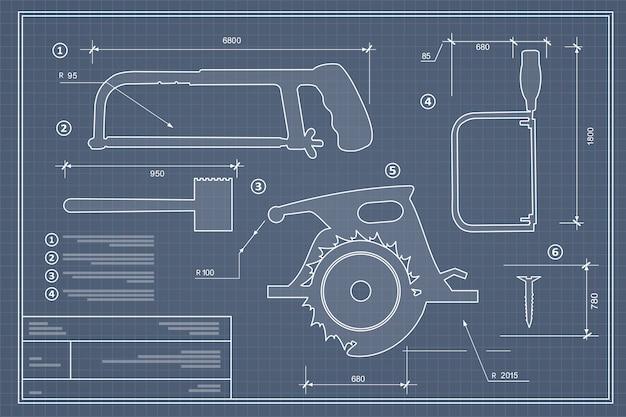 Set di strumenti per la costruzione di silhouette Vettore Premium