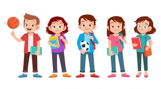 Set di studenti universitari adolescenti Vettore Premium