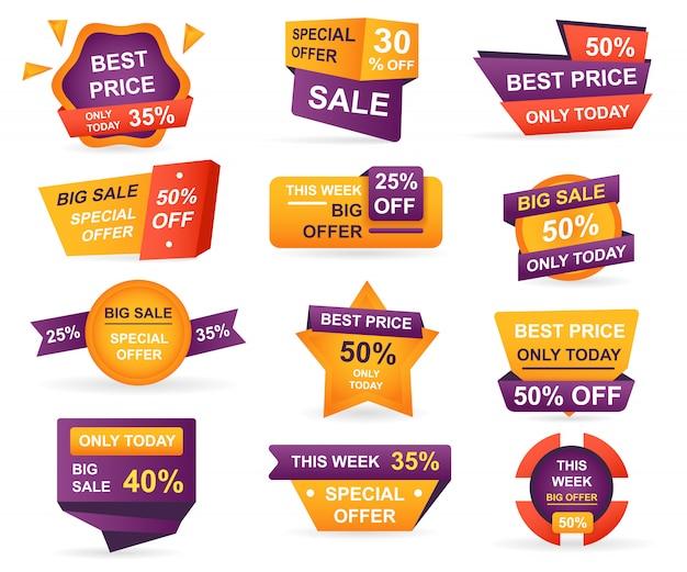 Set di tag di vendita al dettaglio. adesivi miglior prezzo di offerta e grande vendita Vettore Premium