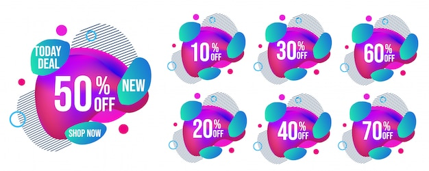 Set di tag di vendita moderna Vettore Premium