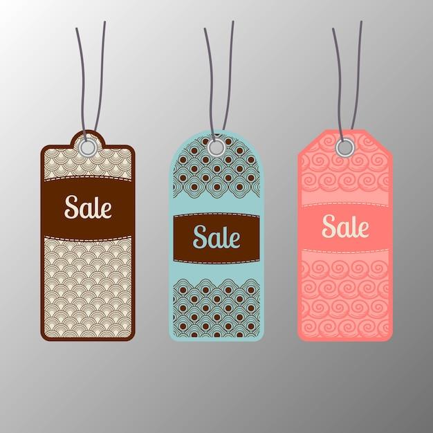 Set di tag di vendita ornato Vettore Premium