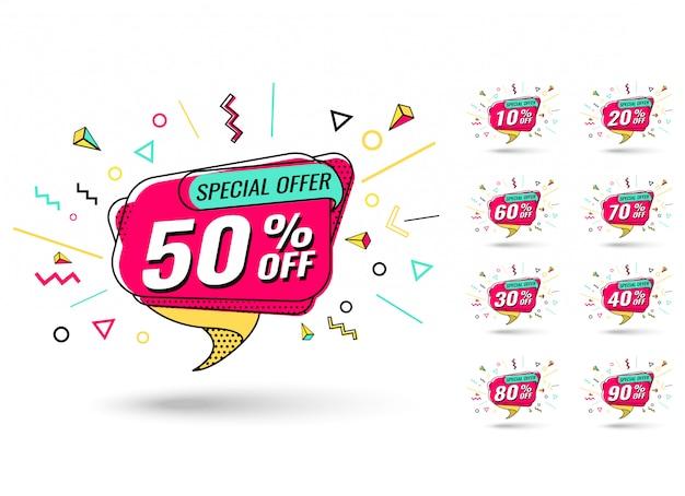 Set di tag di vendita Vettore Premium