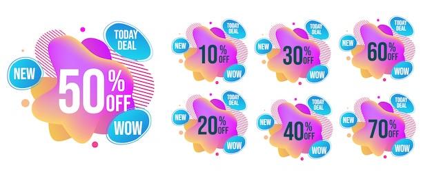 Set di tag vendita mega brillante astratta s Vettore Premium