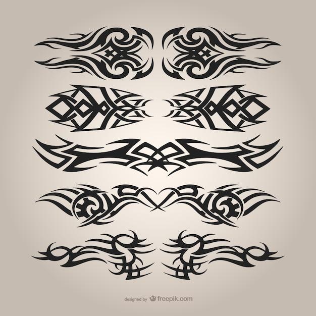 Set di tatuaggi tribali Vettore gratuito