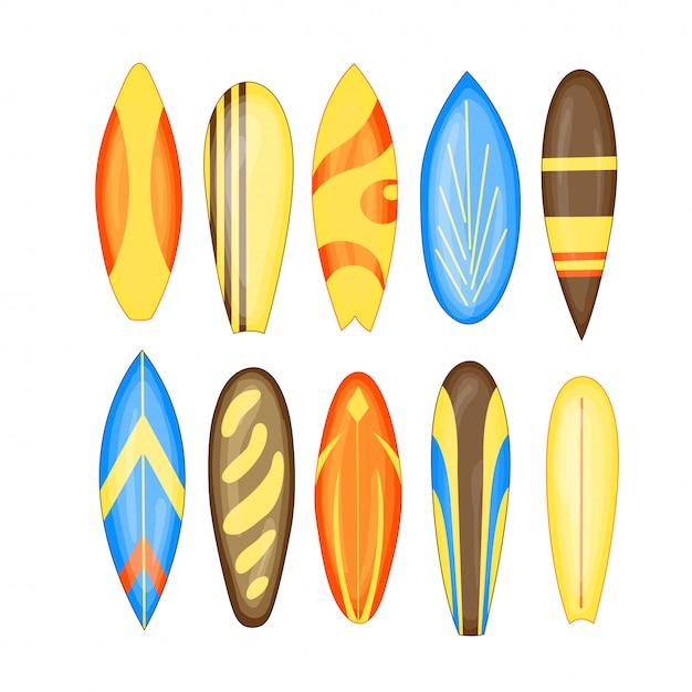Set di tavole da surf Vettore Premium