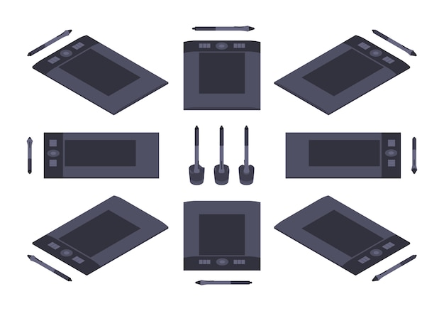 Set di tavolette grafiche isometriche Vettore Premium