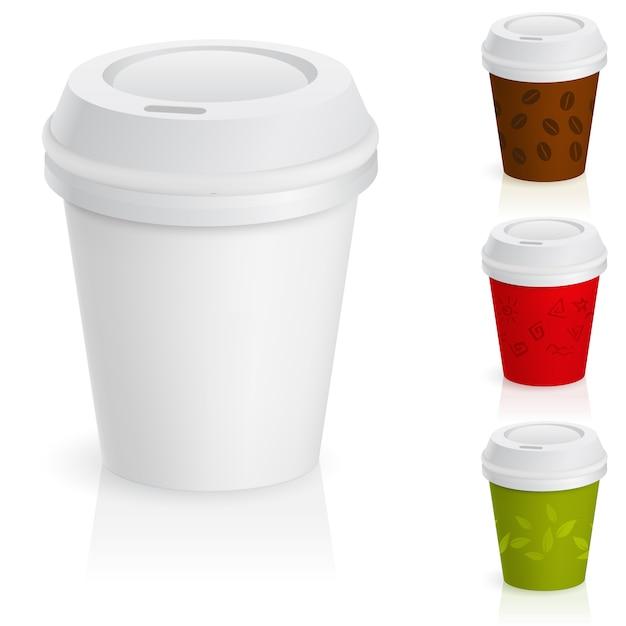 Set di tazze da caffè da asporto Vettore Premium