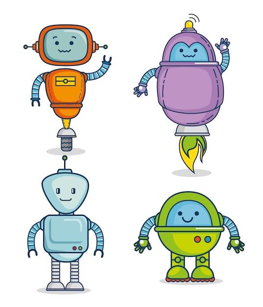 Set di tecnologia robot simpatico cartone animato