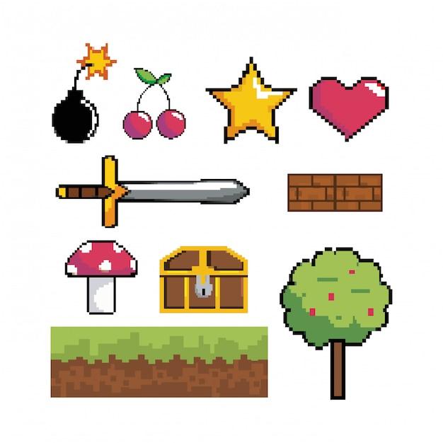 Set di tecnologia di scena grafica pixelata per videogame Vettore Premium