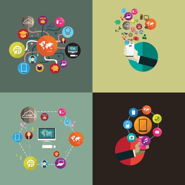 Set di tecnologia di social media internet design piatto Vettore Premium
