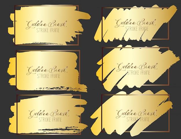 Set di telaio tratto pennello, pennellate di grunge oro. illustrazione vettoriale Vettore Premium