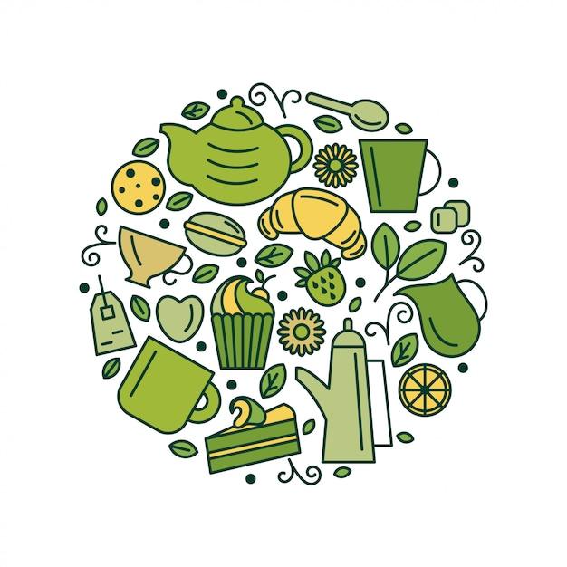 Set di tema del tè. linea arte disegnare icone nel cerchio. illustrazione di vettore Vettore Premium