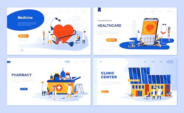 Set di template per landing page per medicina, sanità, farmacia, centro clinico Vettore Premium